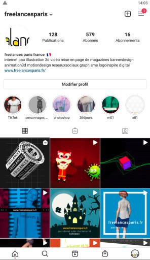 cc fp création gestion profils instagram réalisation magazines pao video web 3d illustration hébergement serveur FreelancesParis